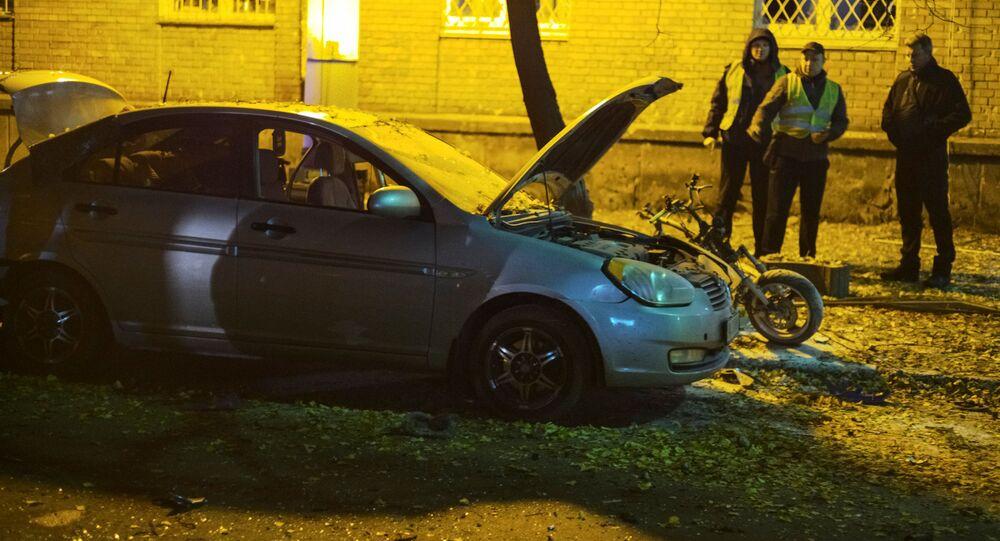 Na místě exploze v Kyjevě