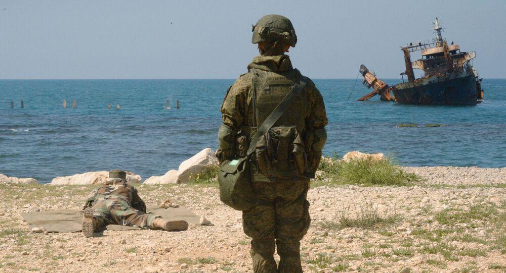 Společná cvičení ruských a syrských vojáků v Tartusu. Ilustrační foto
