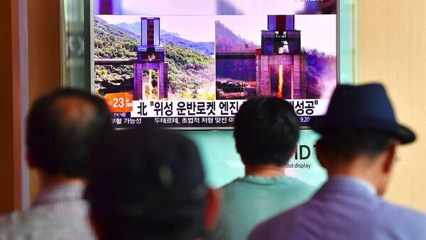 Zpráva o zkoušce KLDR v jihokorejské televizi - Sputnik Česká republika