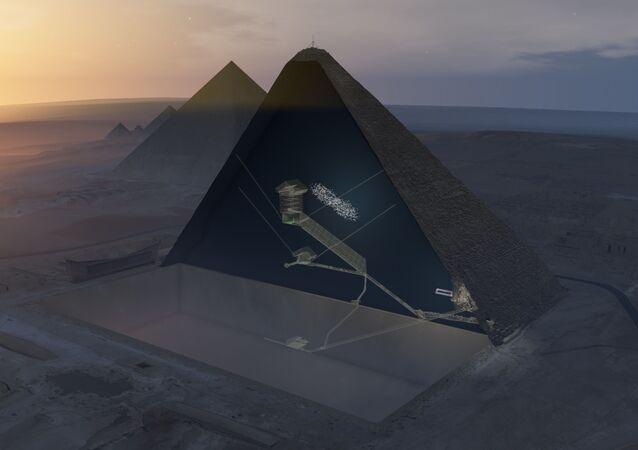 Průřez Cheopsovy pyramidy a předpokládané místo tajné komnaty
