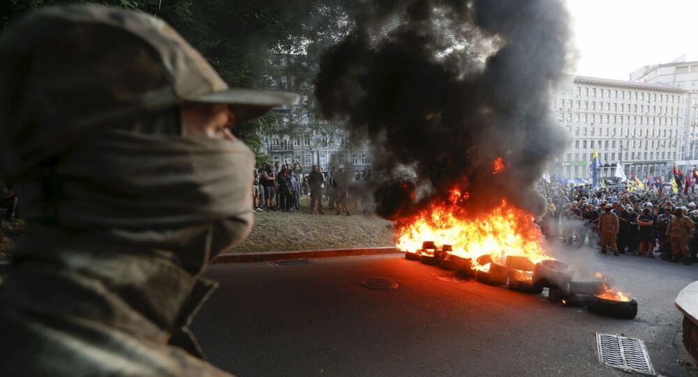 Mítink nacionalistů v Kyjevě