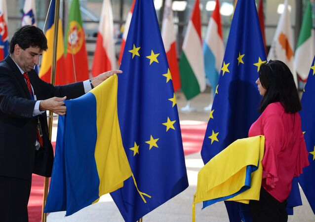 Vlajky EU a Ukrajiny