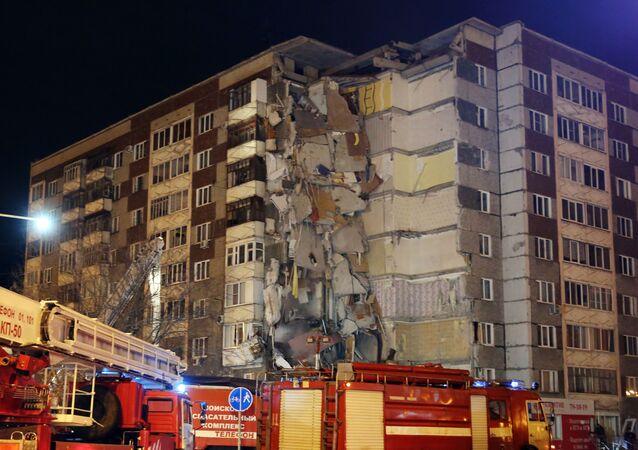 Dům v Iževsku po výbuchu