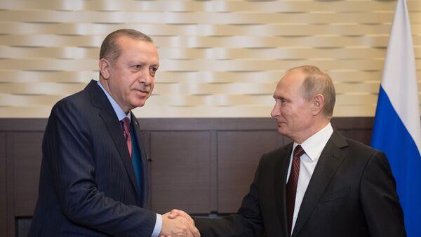 Ruský prezident Vladimir Putin s tureckým prezidetem Recepem Erdoganem v Soči - Sputnik Česká republika