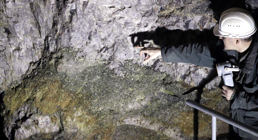 Prospektor Otto Janout ze společnosti Geomet v dolu nedaleko Cínovce ukazuje na rudu, která obsahuje lithium