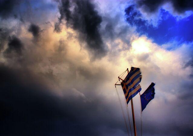 Vlajky EU a Řecka