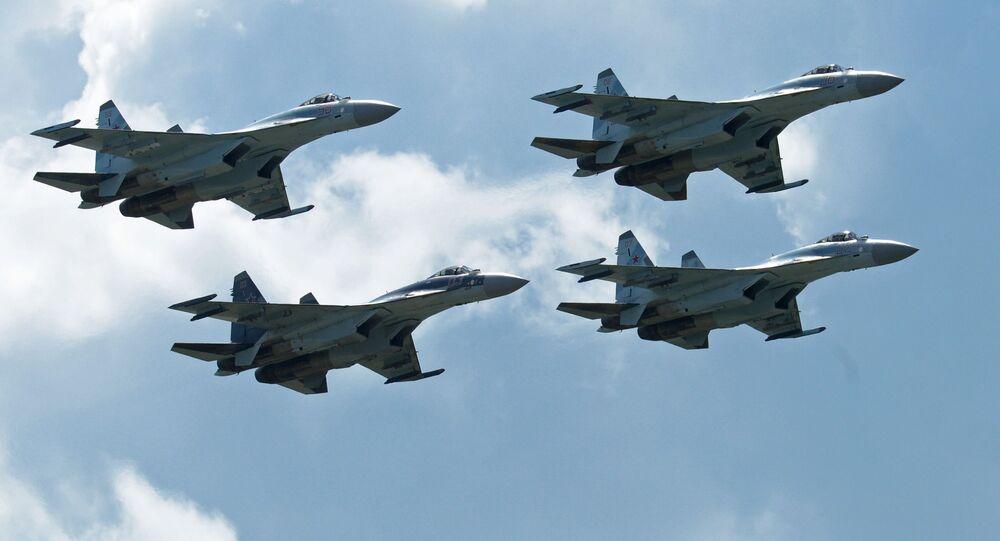 Stíhačky Su-35 na výstavě MAKS 2017