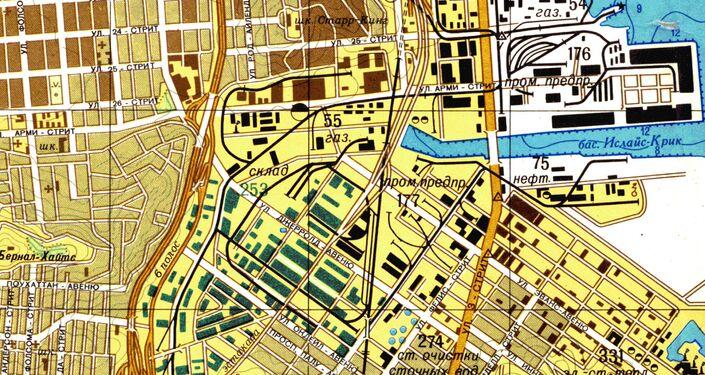 Část velice přesné sovětské mapy San Francisca