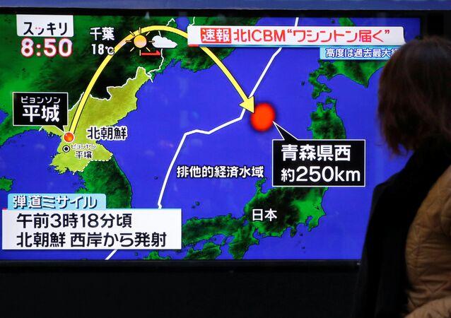 Zpráva o startu balistické rakety KLDR v Japonsku