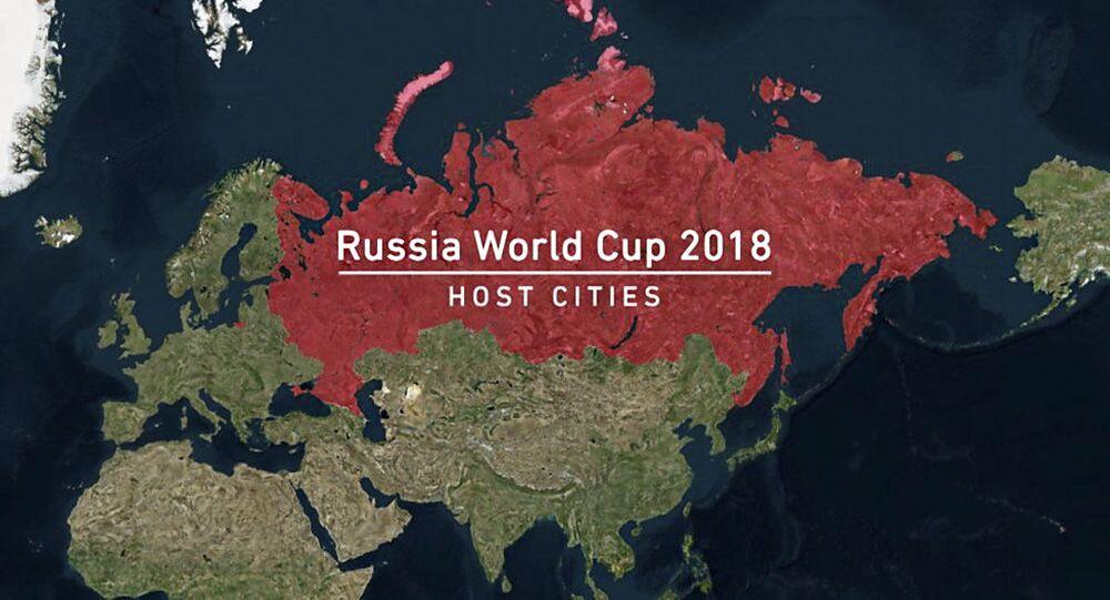 Šot k Mistrovství světa ve fotbale 2018, ve kterém byl Krym zveřejněn jako součást Ruska