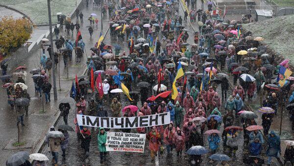 Pochod organizovaný bývalým gruzínským prezidentem a bývalým gubernátorem Oděské oblasti Ukrajiny Michailem Saakašvilim - Sputnik Česká republika