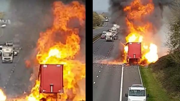 Explodoval náklaďák plný rozprašovačů. Video - Sputnik Česká republika