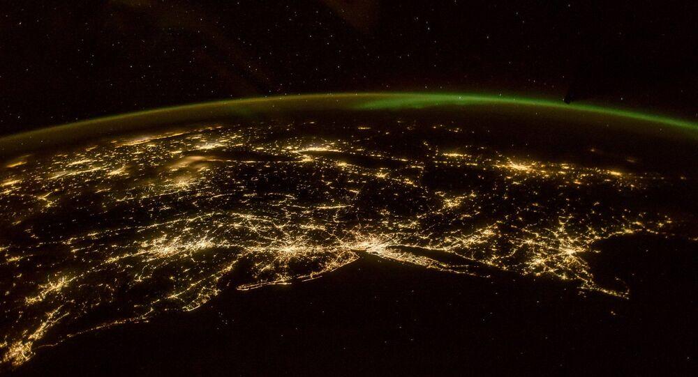Panoramatická fotografie polární záře