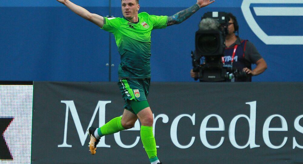 Ondřej Vaněk slaví gól do sítě Dinama Moskva