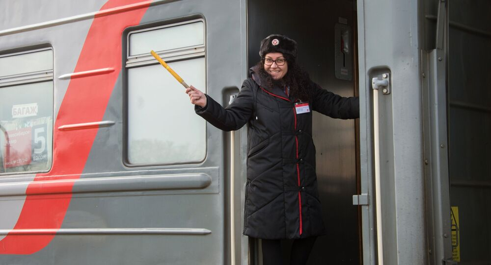Průvodčí v ruském vlaku. Ilustrační foto