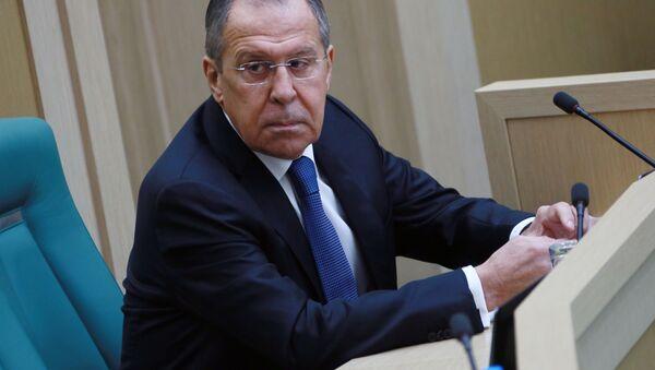 Ruský ministr zahraničí Sergej Lavrov během zasedání Rady Federace RF - Sputnik Česká republika