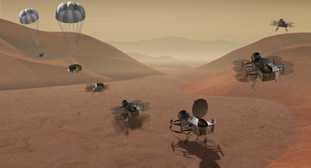 Sonda DragonFlight na povrchu Titanu