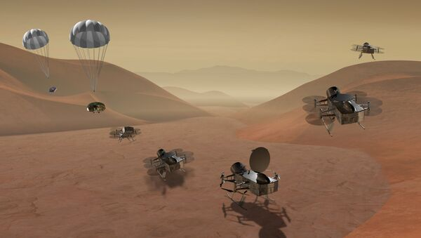 Sonda DragonFlight na povrchu Titanu - Sputnik Česká republika