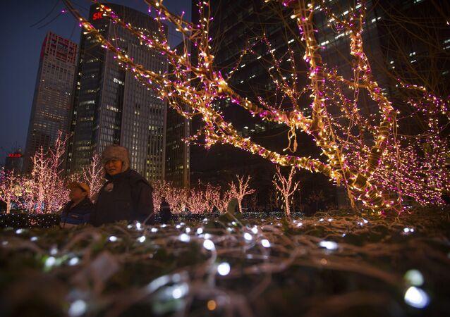 Slavnostní osvětlení v Pekingu