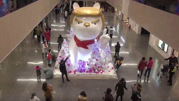 Socha psa s účesem Trumpa v čínském obchodě - Sputnik Česká republika