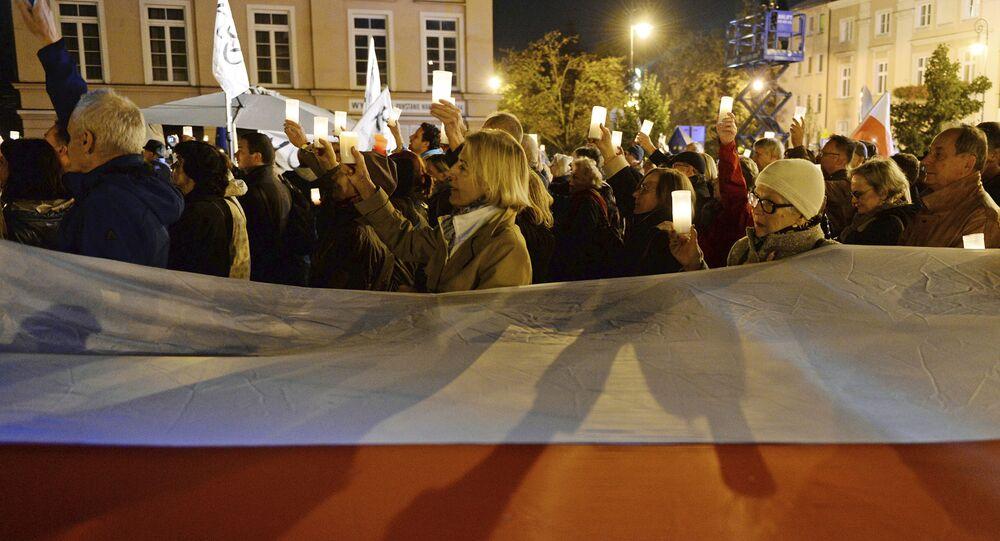 Protestní akce ve Varšavě