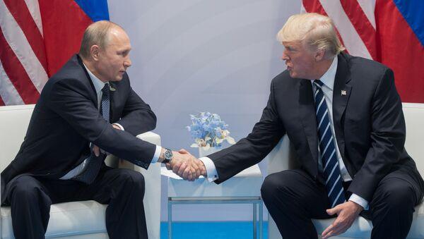 Ruský prezident Vladimir Putin a americký prezident Donald Trump (zprava) na summitu G20 - Sputnik Česká republika