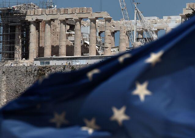 Vlajka EU v Athénách