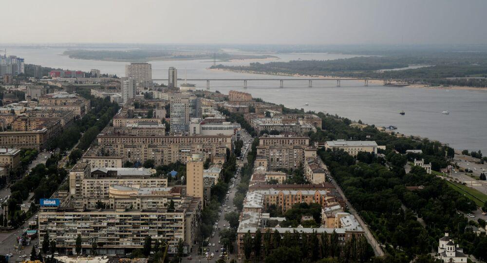 Pohled na Volgu a Volgograd
