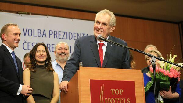 Miloš Zeman během projevu po vítězství ve volbách - Sputnik Česká republika