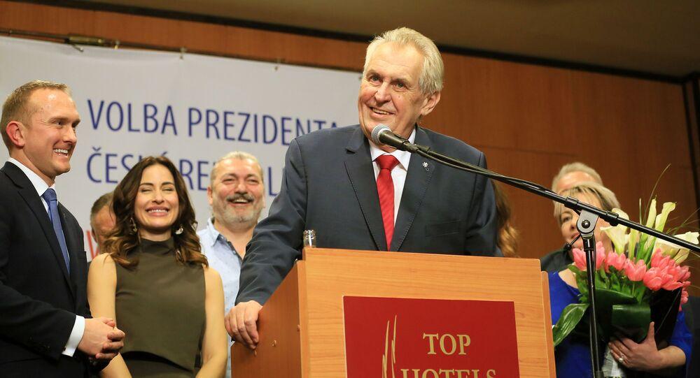 Miloš Zeman během projevu po vítězství ve volbách