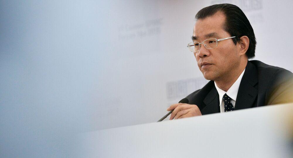 Ředitel departamentu Evropy a Centrální Asie čínského ministerstva zahraničních věcí Gui Qingyu na briefingu v Ufě