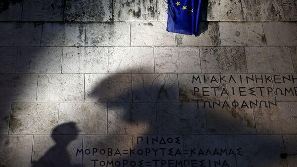 Vlajka EU u parlamentu Řecka - Sputnik Česká republika