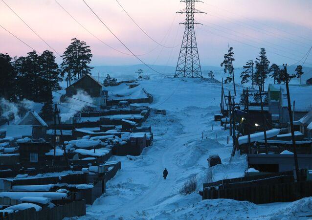 Zima v Ulan-Ude na Sibiři