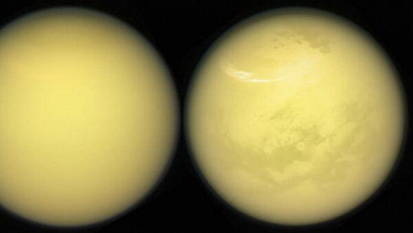 Snímek Titanu vyfocený sondou NASA Cassini - Sputnik Česká republika