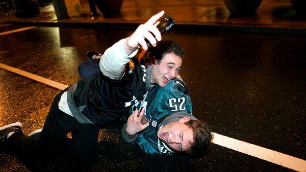 Fanoušci Philadelphia Eagles oslavují vítězství svého týmu - Sputnik Česká republika