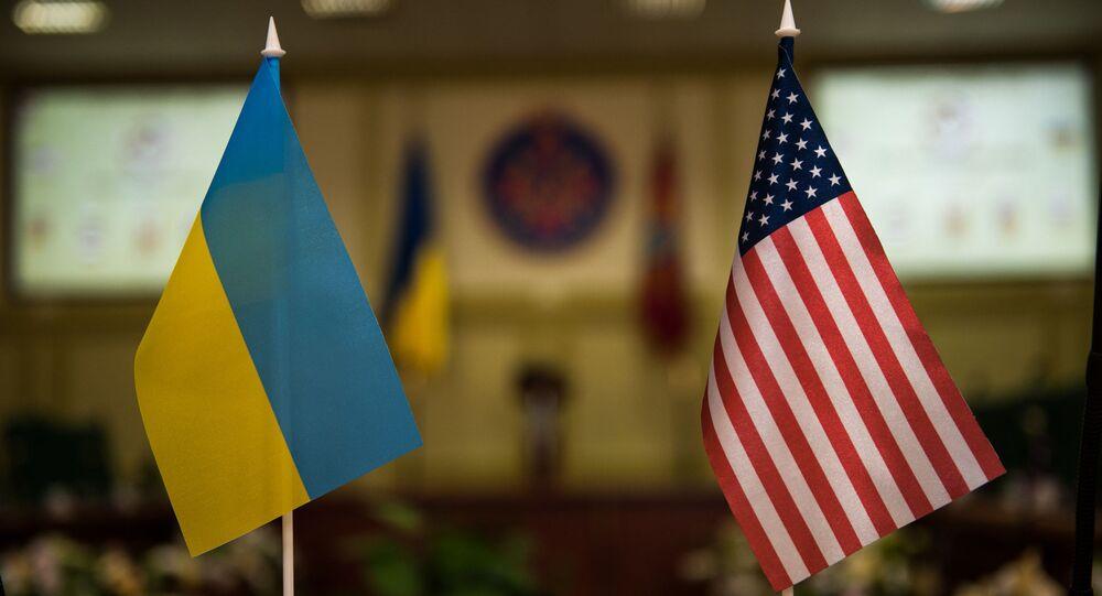 Vlajky Ukrajiny a USA