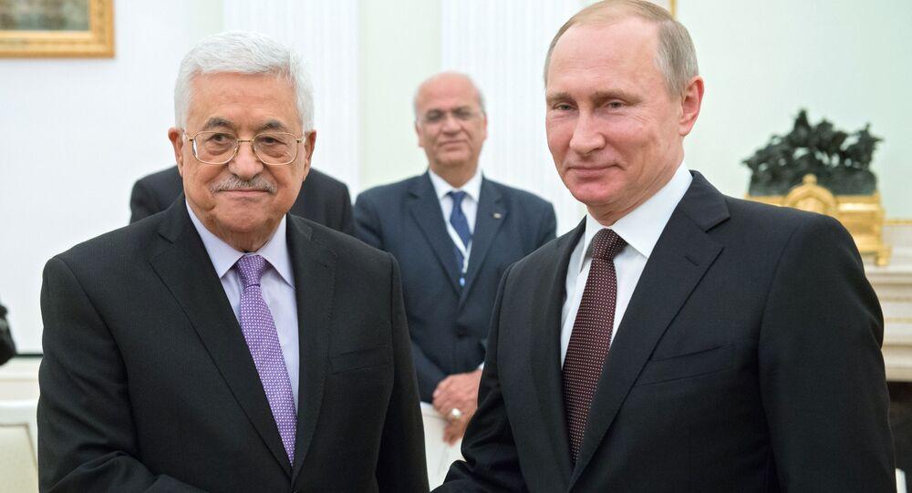 Vladimir Putin s Mahmúdem Abbásem