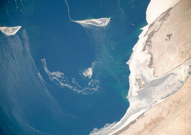 Pohled na Aralské moře z vesmíru