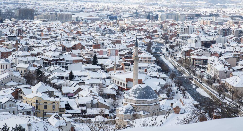 Pohled na město Prizren v Kosovu