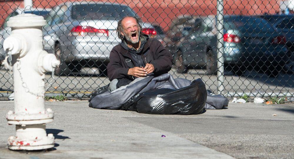 Bezdomovec v USA. Ilustrační foto
