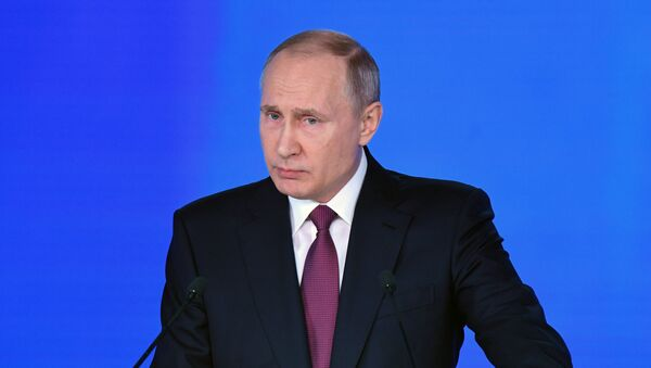 Russian President Vladimir Putin delivers his annual Presidential Address to the Federal Assembly at the Manezh Central Exhibition Hall - Sputnik Česká republika