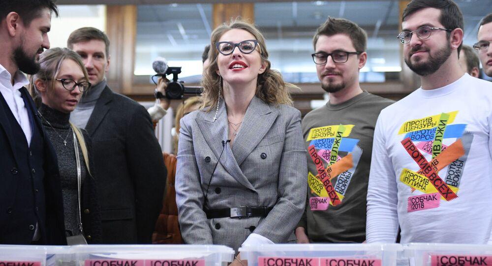 Kandidátka na prezidenta RF Xenija Sobčaková