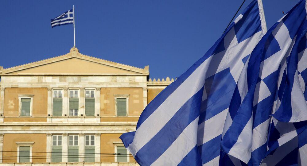 Řecké vlajky v Aténách