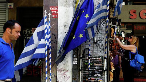 Vlajky Řecka a EU - Sputnik Česká republika