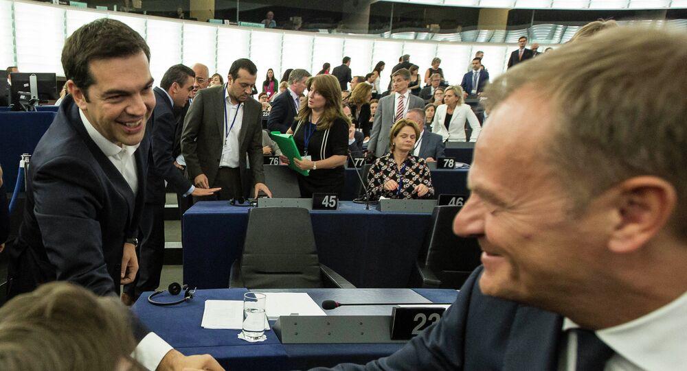 Předseda Evropské rady Donald Tusk a předseda řecké vlády Alexis Tsipras