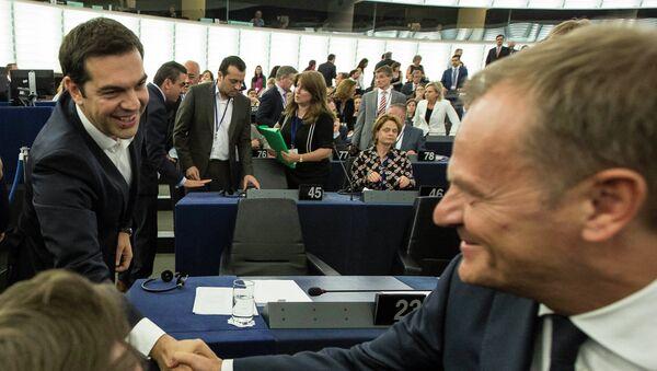 Předseda Evropské rady Donald Tusk a předseda řecké vlády Alexis Tsipras - Sputnik Česká republika