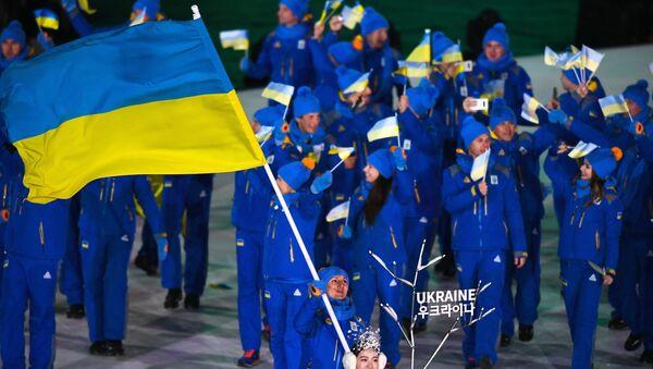 Ukrajinští sportovci během zahájení Olympijských her 2018 - Sputnik Česká republika