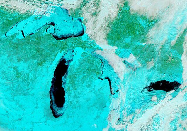 Psychodelické foto Velkých jezer