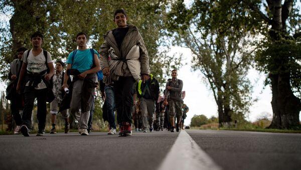 Migranti na cestě do Maďarska. Archivní foto - Sputnik Česká republika