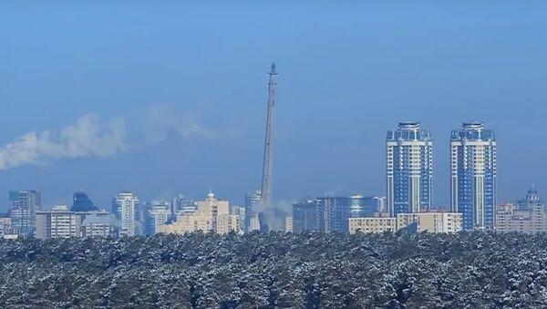 Zničení výbuchem nedostavěné televizní věže v Jekatěrinburgu ukázali na videu - Sputnik Česká republika